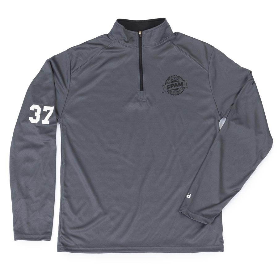 1/4 Zip Gray/Black SPAM® Brand 37 (Adult & Youth)