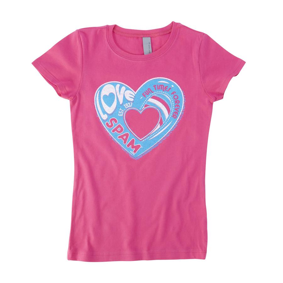 Girls Pink Heart logo T-shirt