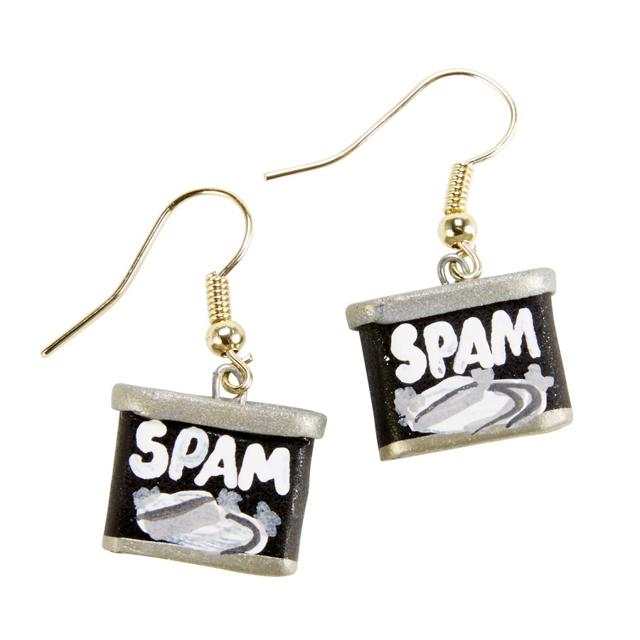 Retro SPAM® Can Earrings - black/white