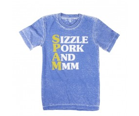 Blue acid washed SPAM® Brand Sizzle T-shirt
