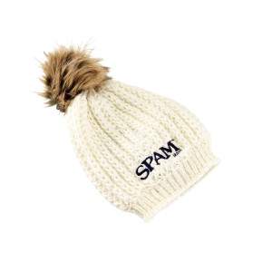 Cream Knit Stocking Hat w/Fur Pom